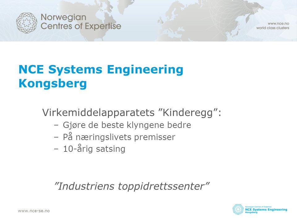 www.nce-se.no NCE Systems Engineering Kongsberg Virkemiddelapparatets Kinderegg : –Gjøre de beste klyngene bedre –På næringslivets premisser –10-årig satsing Industriens toppidrettssenter