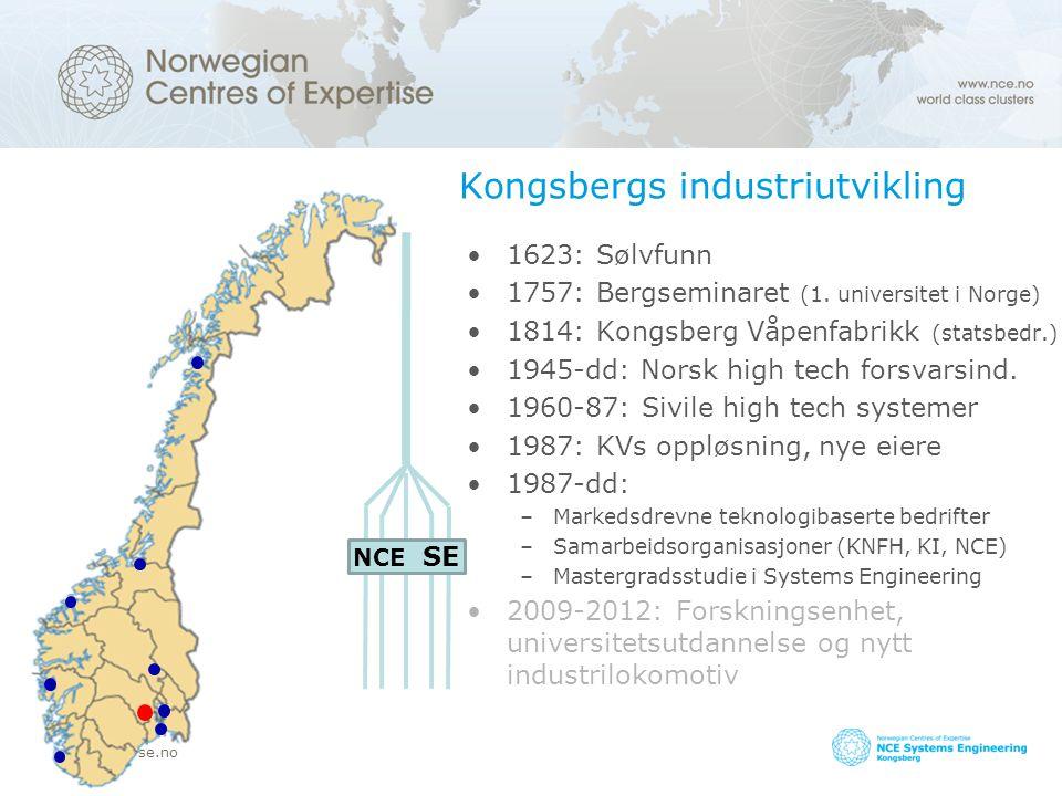 www.nce-se.no Kongsbergs industriutvikling 1623: Sølvfunn 1757: Bergseminaret (1. universitet i Norge) 1814: Kongsberg Våpenfabrikk (statsbedr.) 1945-