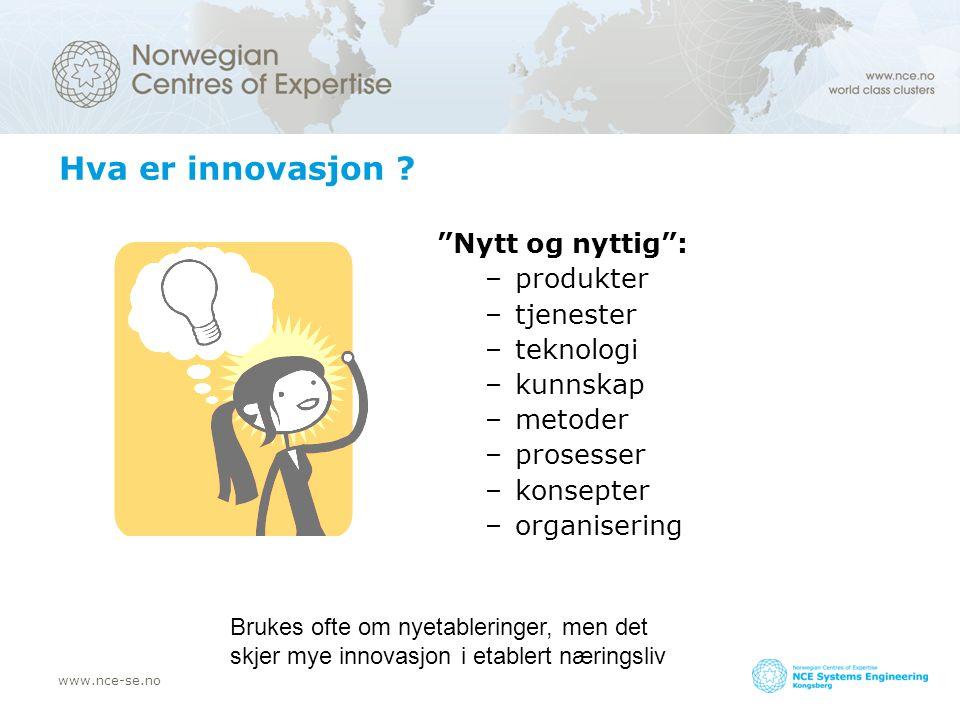 """www.nce-se.no Hva er innovasjon ? """"Nytt og nyttig"""": –produkter –tjenester –teknologi –kunnskap –metoder –prosesser –konsepter –organisering Brukes oft"""