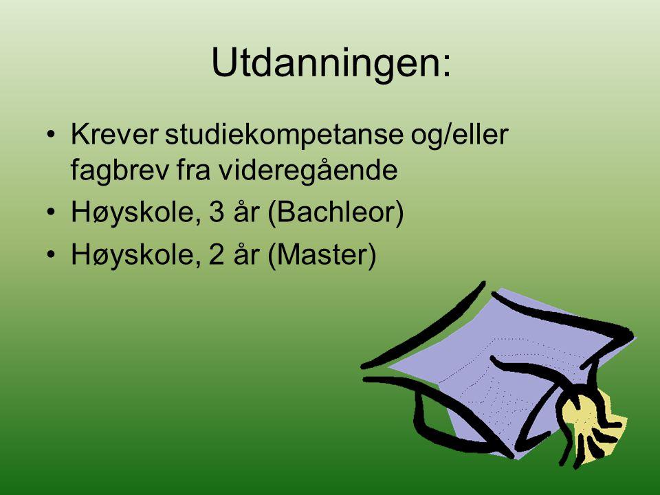 Utdanningen: Krever studiekompetanse og/eller fagbrev fra videregående Høyskole, 3 år (Bachleor) Høyskole, 2 år (Master)