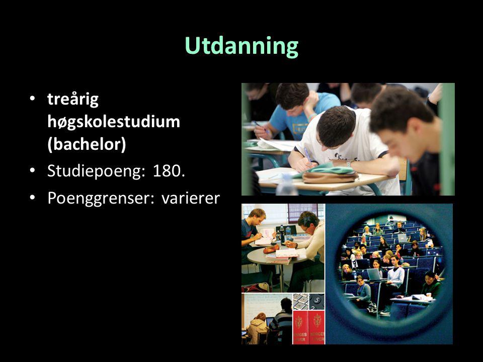 Utdanning treårig høgskolestudium (bachelor) Studiepoeng: 180. Poenggrenser: varierer