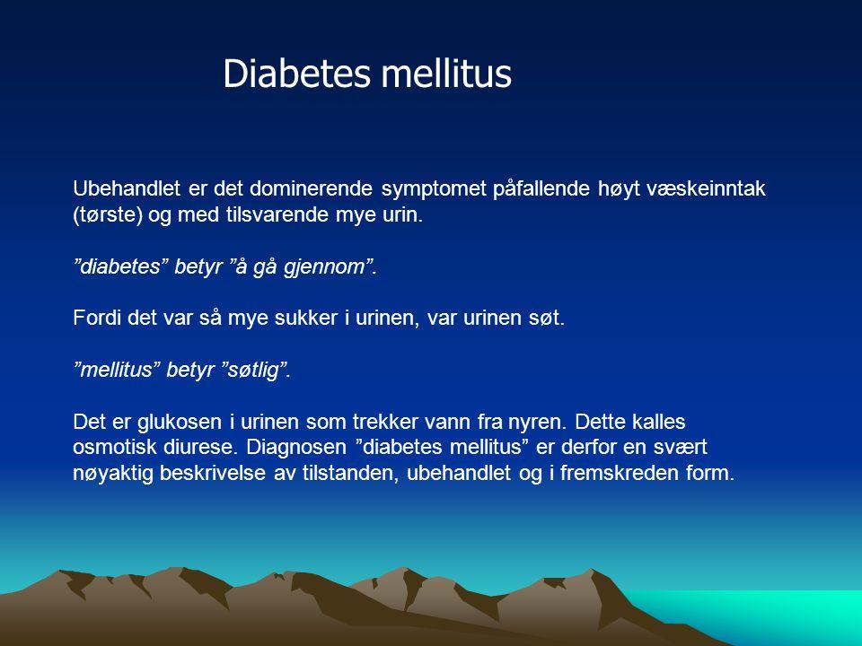 To typer diabetes Type 1: total mangel på insulin (barn/ungdom/yngre voksne) Type 2: nedsatt insulinmengde og nedsatt insulinfølsomhet (eldre, eldre voksne), utgjør ca 80% av alle med diabetes Type 2 forkortes T2DM