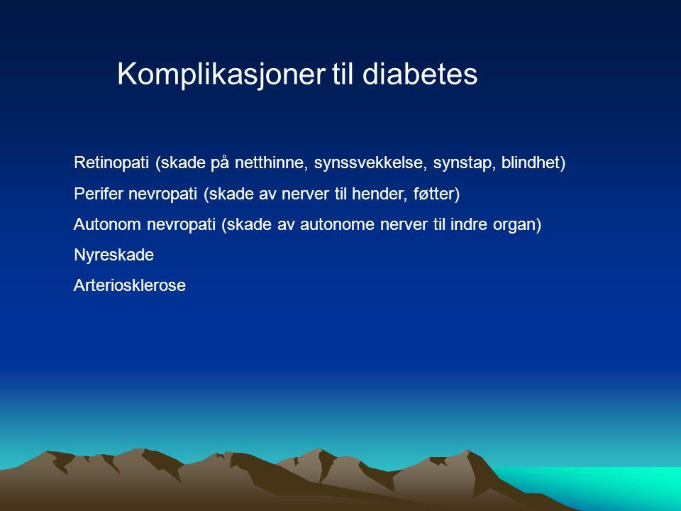 Komplikasjoner til diabetes Retinopati (skade på netthinne, synssvekkelse, synstap, blindhet) Perifer nevropati (skade av nerver til hender, føtter) A