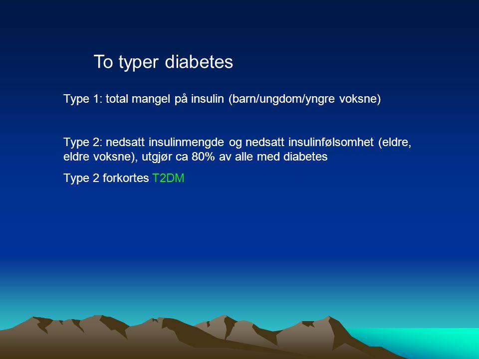 To typer diabetes Type 1: total mangel på insulin (barn/ungdom/yngre voksne) Type 2: nedsatt insulinmengde og nedsatt insulinfølsomhet (eldre, eldre v