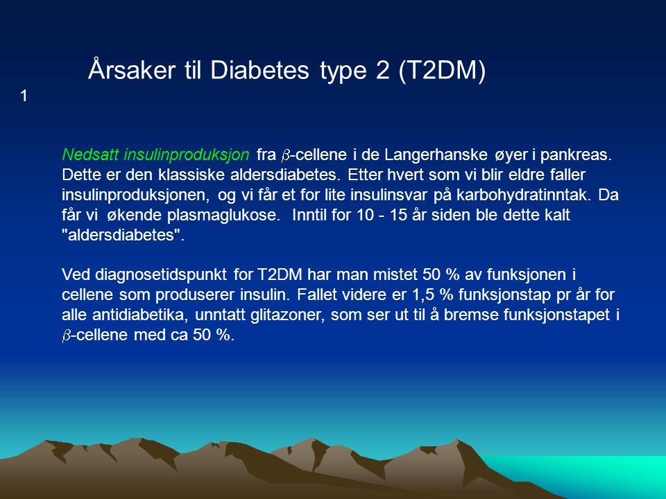 Nedsatt insulinproduksjon fra  -cellene i de Langerhanske øyer i pankreas. Dette er den klassiske aldersdiabetes. Etter hvert som vi blir eldre falle