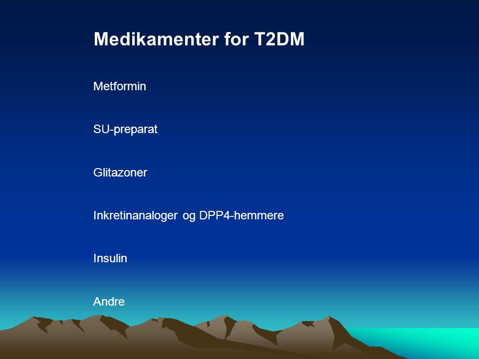Medikamenter for T2DM Metformin SU-preparat Glitazoner Inkretinanaloger og DPP4-hemmere Insulin Andre