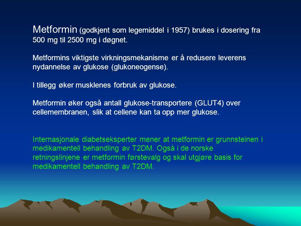 Metformin (godkjent som legemiddel i 1957) brukes i dosering fra 500 mg til 2500 mg i døgnet. Metformins viktigste virkningsmekanisme er å redusere le