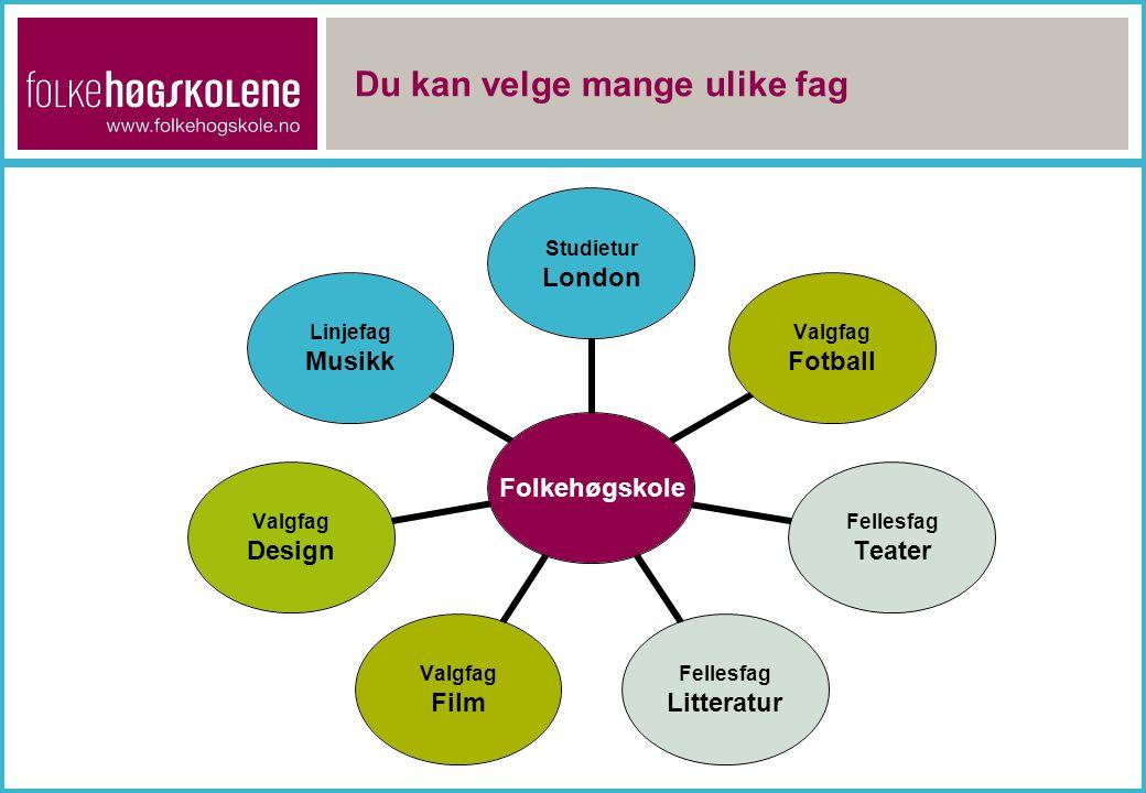 Du kan velge mange ulike fag Folkehøgskole Studietur London Valgfag Fotball Fellesfag Teater Fellesfag Litteratur Valgfag Film Valgfag Design Linjefag Musikk