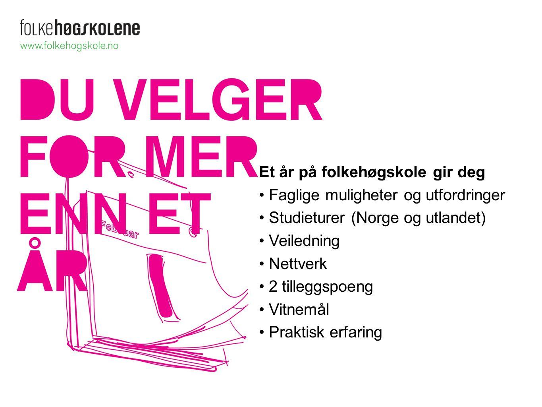 Et år på folkehøgskole gir deg Faglige muligheter og utfordringer Studieturer (Norge og utlandet) Veiledning Nettverk 2 tilleggspoeng Vitnemål Praktis