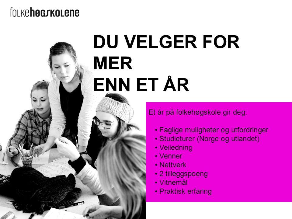 Et år på folkehøgskole gir deg: Faglige muligheter og utfordringer Studieturer (Norge og utlandet) Veiledning Venner Nettverk 2 tilleggspoeng Vitnemål