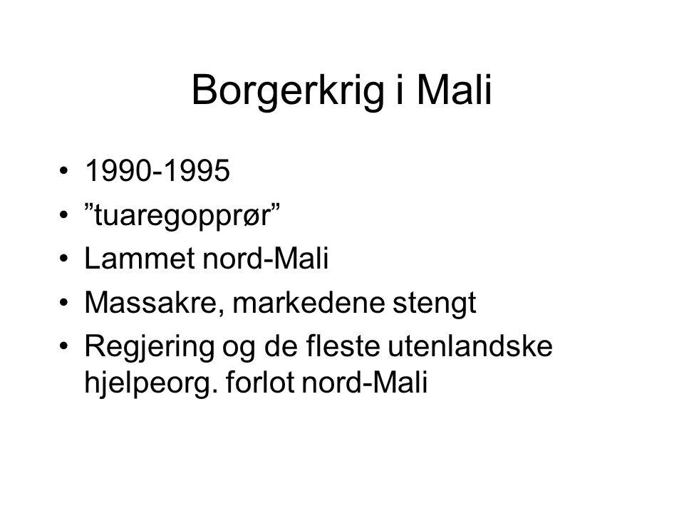 Borgerkrig i Mali 1990-1995 tuaregopprør Lammet nord-Mali Massakre, markedene stengt Regjering og de fleste utenlandske hjelpeorg.