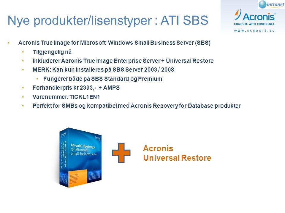 Acronis True Image Echo Verdt å vite om lisensiering ABC Kunde bruker Acronis True Image til backup og gjenoppretting av maskin (A) Kunde bytter ut maskin (A) med maskin (B) grunnet markinfeil og gjenoppretter image laget på maskin (A) Kunde kjøper ny maskin (C) og ønsker å gjenopprette image laget på maskin (A) eller (B) NB: Her trenger ikke kunden å kjøpe noen ny lisens.
