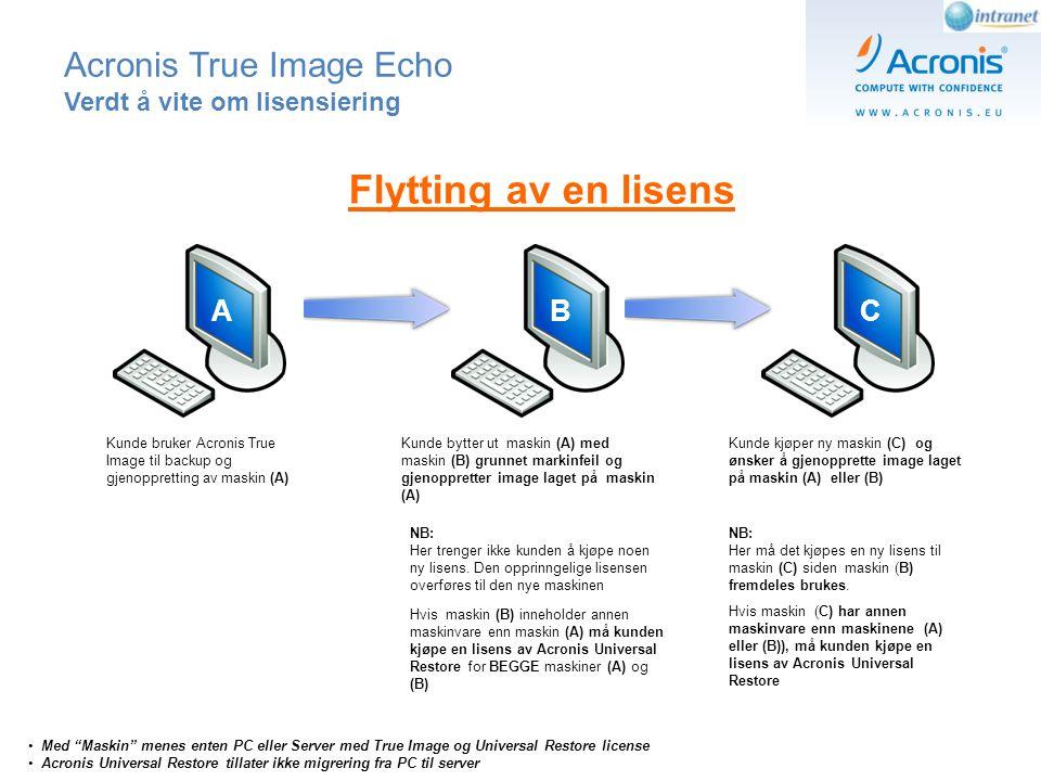 Acronis True Image Echo Verdt å vite om lisensering AB Kunde bruker Acronis True Image funksjonen til å lage en bootdisk for bruk sammen med imaget som er tatt av maskin (A) Kunde bruker bootdisk til å transportere image til maskin (B) selv om maskin (A) fortsatt er I bruk NB: Helt kurrant – krever ingen ekstra lisens.
