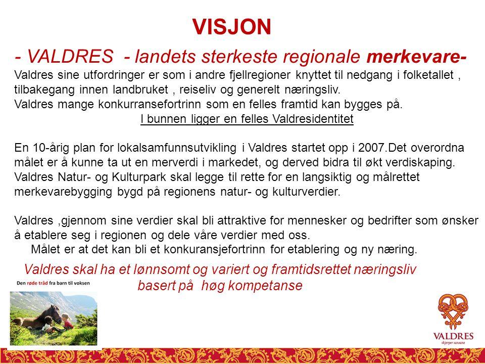 VISJON - VALDRES - landets sterkeste regionale merkevare- Valdres sine utfordringer er som i andre fjellregioner knyttet til nedgang i folketallet, tilbakegang innen landbruket, reiseliv og generelt næringsliv.