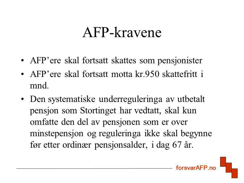 AFP-kravene AFP'ere skal fortsatt skattes som pensjonister AFP'ere skal fortsatt motta kr.950 skattefritt i mnd. Den systematiske underreguleringa av