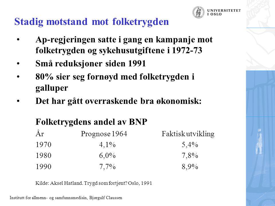 Institutt for allmenn- og samfunnsmedisin, Bjørgulf Claussen Stadig motstand mot folketrygden Ap-regjeringen satte i gang en kampanje mot folketrygden