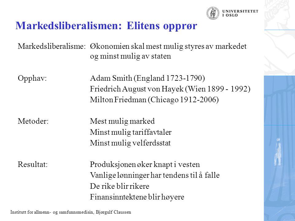 Institutt for allmenn- og samfunnsmedisin, Bjørgulf Claussen Markedsliberalismen: Elitens opprør Markedsliberalisme:Økonomien skal mest mulig styres a
