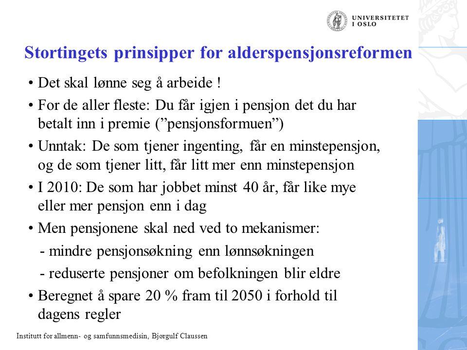 Institutt for allmenn- og samfunnsmedisin, Bjørgulf Claussen Dagens pensjon Dagens system: Forholdet mellom pensjonsgivende inntekt og pensjon for enslig pensjonist med konstant lønnsinntekt i minst 20 år
