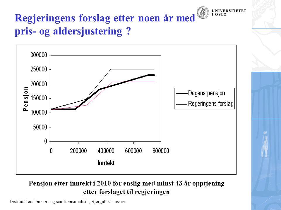 Institutt for allmenn- og samfunnsmedisin, Bjørgulf Claussen Regjeringens forslag etter noen år med pris- og aldersjustering ? Pensjon etter inntekt i