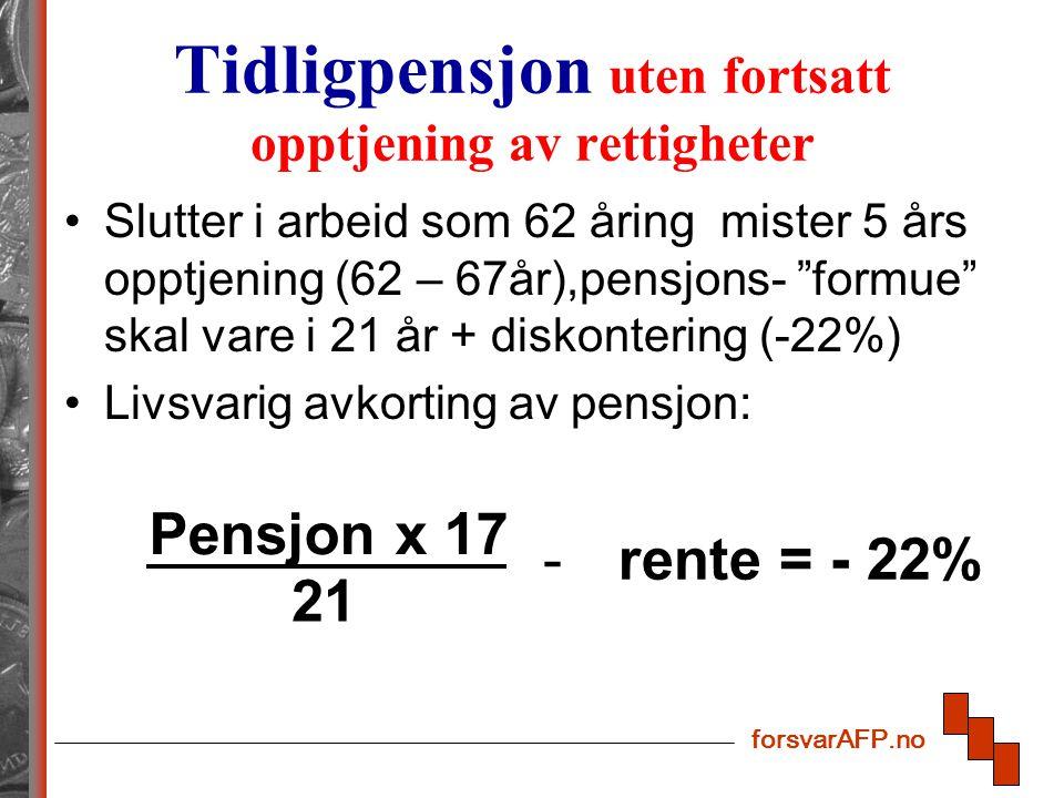 forsvarAFP.no Tidligpensjon uten fortsatt opptjening av rettigheter Slutter i arbeid som 62 åring mister 5 års opptjening (62 – 67år),pensjons- formue skal vare i 21 år + diskontering (-22%) Livsvarig avkorting av pensjon: rente = - 22% Pensjon x 17 21 -