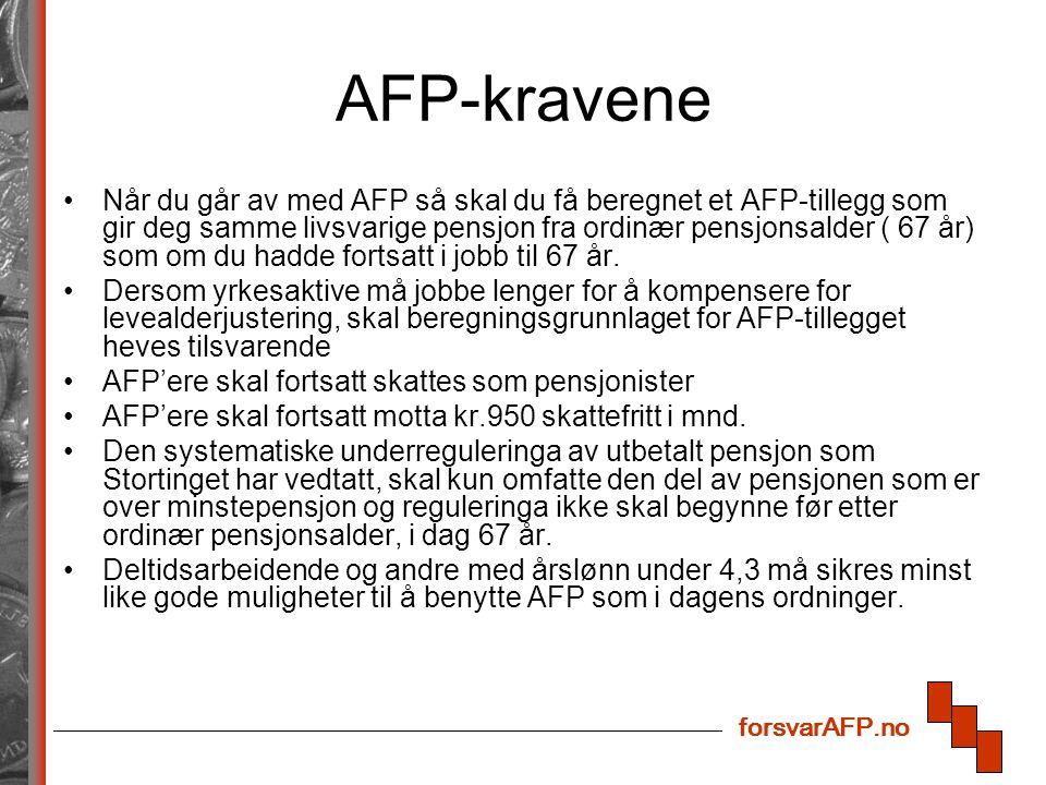 forsvarAFP.no AFP-kravene Når du går av med AFP så skal du få beregnet et AFP-tillegg som gir deg samme livsvarige pensjon fra ordinær pensjonsalder (