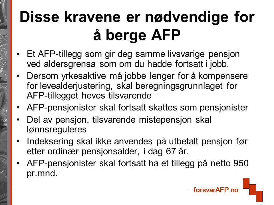 forsvarAFP.no Disse kravene er nødvendige for å berge AFP Et AFP-tillegg som gir deg samme livsvarige pensjon ved aldersgrensa som om du hadde fortsatt i jobb.