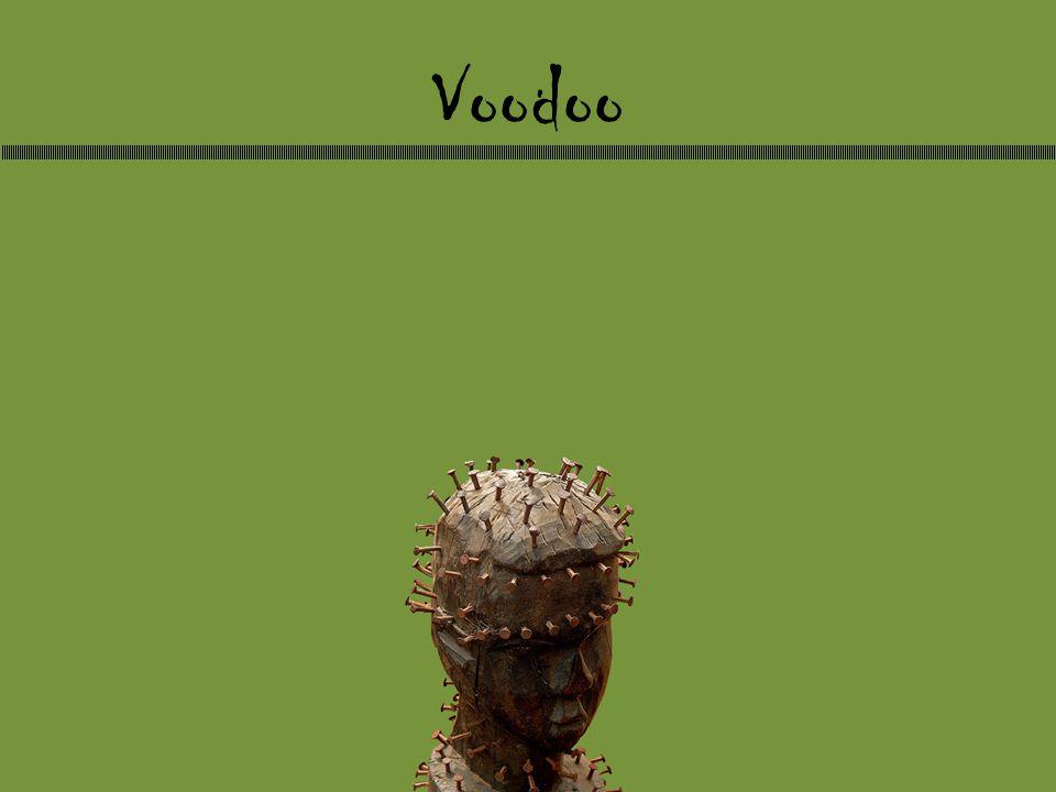 Historie -Oppstod på 1700-tallet – Vestafrikansk voodoo – Romersk-katolsk kristendom -Kom til Amerika i 1804 -De romersk-katolskes forsøk på å utrydde voodoo fra Haiti 1860 til sent 40-tallet -Plukket opp av Hollywood i 30-årene -De evangeliskes forsøk på å sverte voodoo og konvertere voodooister til evangelisme i 70-årene