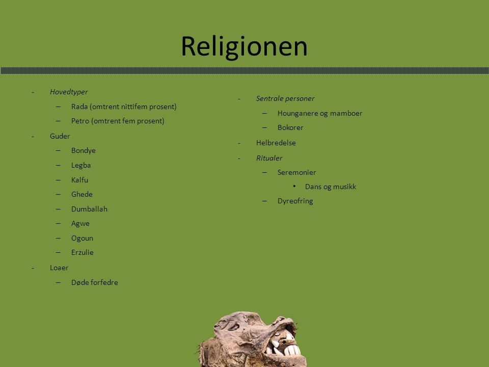 Religionen -Hovedtyper – Rada (omtrent nittifem prosent) – Petro (omtrent fem prosent) -Guder – Bondye – Legba – Kalfu – Ghede – Dumballah – Agwe –