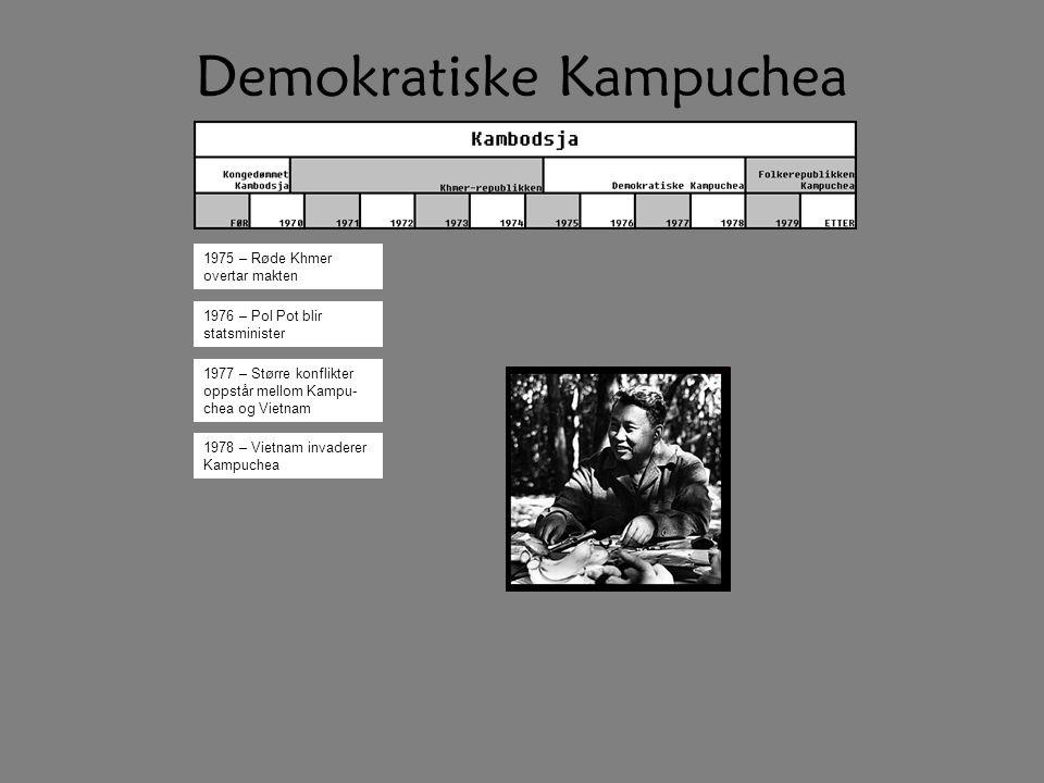 Demokratiske Kampuchea 1975 – Røde Khmer overtar makten 1976 – Pol Pot blir statsminister 1977 – Større konflikter oppstår mellom Kampu- chea og Vietnam 1978 – Vietnam invaderer Kampuchea
