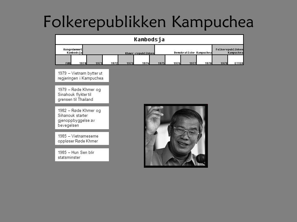 Folkerepublikken Kampuchea 1979 – Vietnam bytter ut regjeringen i Kampuchea 1979 – Røde Khmer og Sinahouk flykter til grensen til Thailand 1985 – Hun Sen blir statsminster 1982 – Røde Khmer og Sihanouk starter gjenoppbyggelse av bevegelsen 1985 – Vietnameserne oppløser Røde Khmer