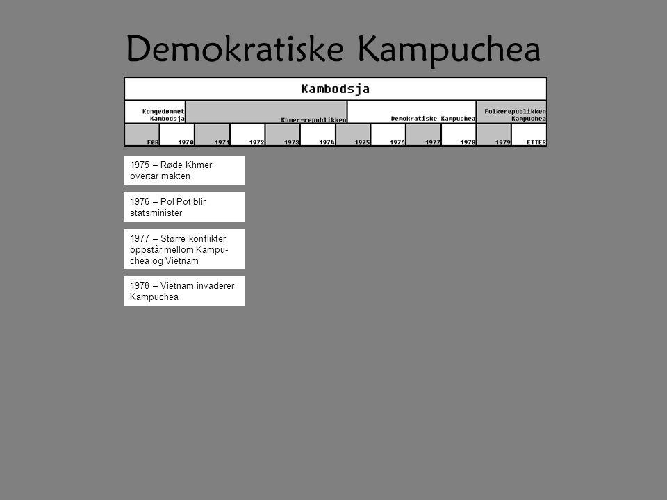 Demokratiske Kampuchea 1975 – Røde Khmer overtar makten 1976 – Pol Pot blir statsminister 1977 – Større konflikter oppstår mellom Kampu- chea og Vietn