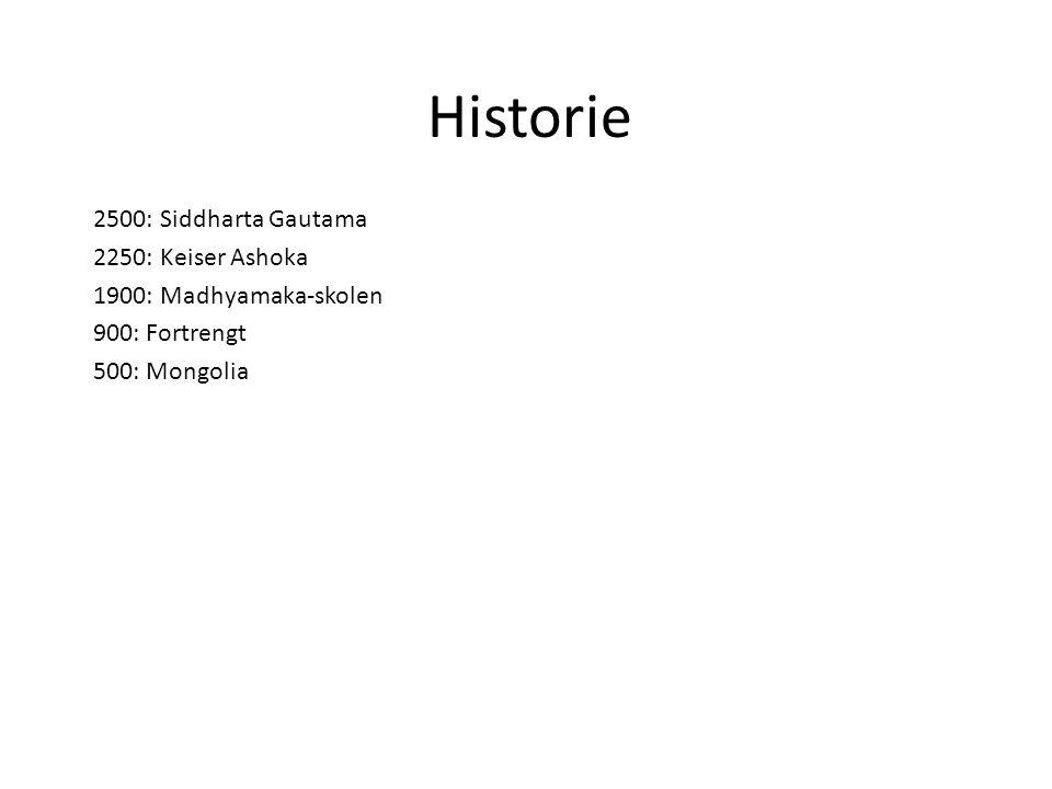 Historie 2500: Siddharta Gautama 2250: Keiser Ashoka 1900: Madhyamaka-skolen 900: Fortrengt 500: Mongolia