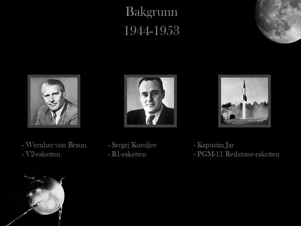 Bakgrunn 1944-1953 - Wernher von Braun - V2-raketten - Sergej Koroljov - R1-raketten - Kapustin Jar - PGM-11 Redstone-raketten
