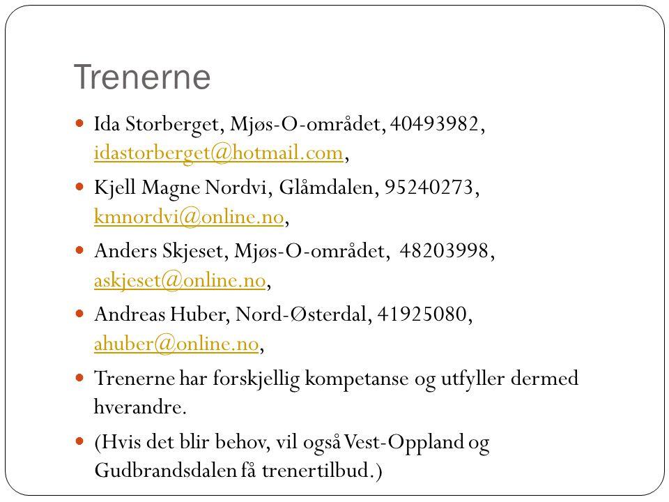 Trenerne Ida Storberget, Mjøs-O-området, 40493982, idastorberget@hotmail.com, idastorberget@hotmail.com Kjell Magne Nordvi, Glåmdalen, 95240273, kmnordvi@online.no, kmnordvi@online.no Anders Skjeset, Mjøs-O-området, 48203998, askjeset@online.no, askjeset@online.no Andreas Huber, Nord-Østerdal, 41925080, ahuber@online.no, ahuber@online.no Trenerne har forskjellig kompetanse og utfyller dermed hverandre.