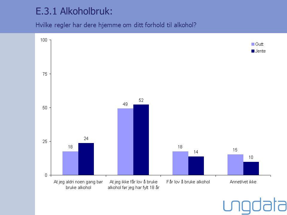 E.3.1 Alkoholbruk: Hvilke regler har dere hjemme om ditt forhold til alkohol