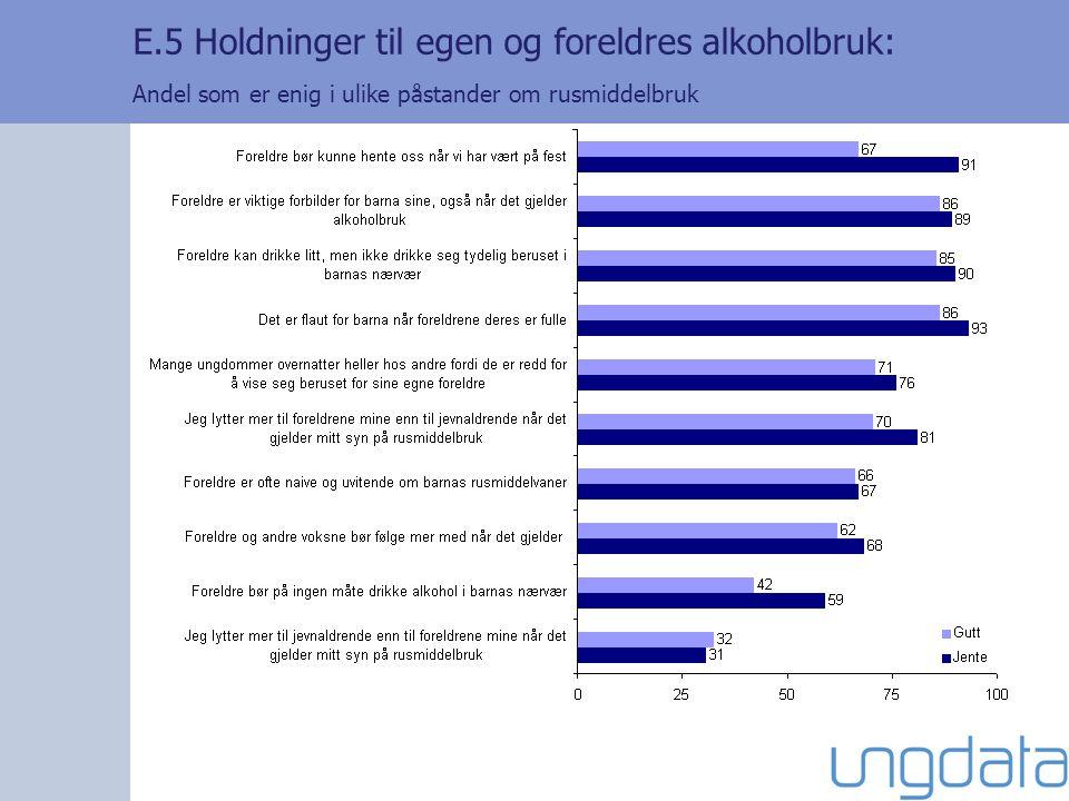 E.5 Holdninger til egen og foreldres alkoholbruk: Andel som er enig i ulike påstander om rusmiddelbruk