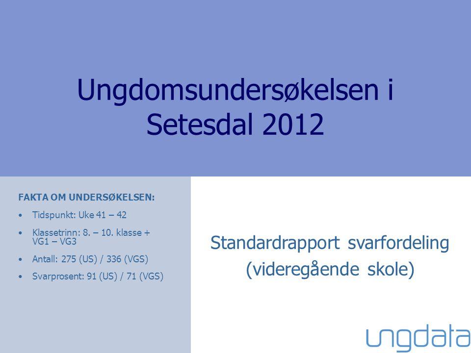 Ungdomsundersøkelsen i Setesdal 2012 FAKTA OM UNDERSØKELSEN: Tidspunkt: Uke 41 – 42 Klassetrinn: 8. – 10. klasse + VG1 – VG3 Antall: 275 (US) / 336 (V