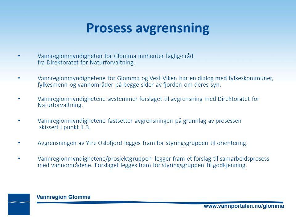 Prosess avgrensning Vannregionmyndigheten for Glomma innhenter faglige råd fra Direktoratet for Naturforvaltning. Vannregionmyndighetene for Glomma og