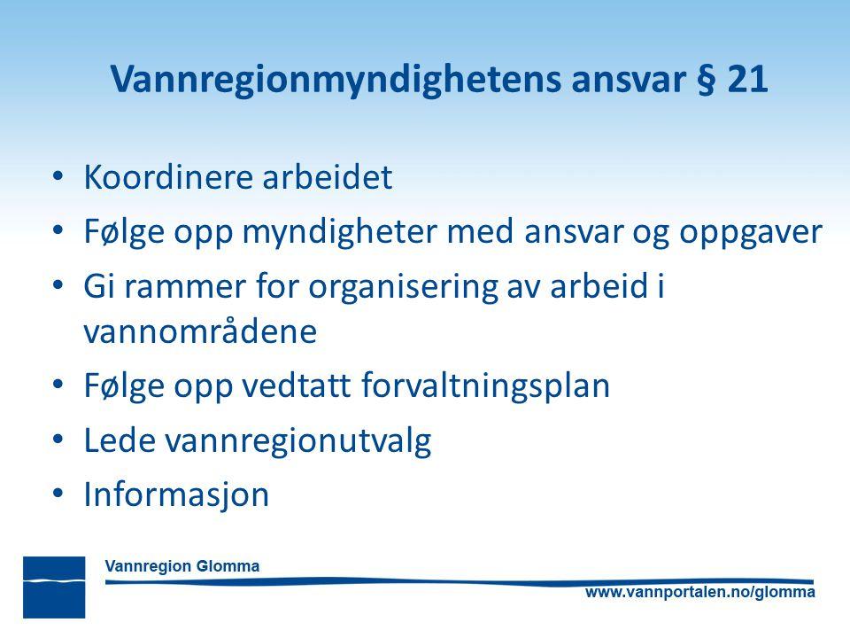 Vannregionmyndighetens ansvar § 21 Koordinere arbeidet Følge opp myndigheter med ansvar og oppgaver Gi rammer for organisering av arbeid i vannområden