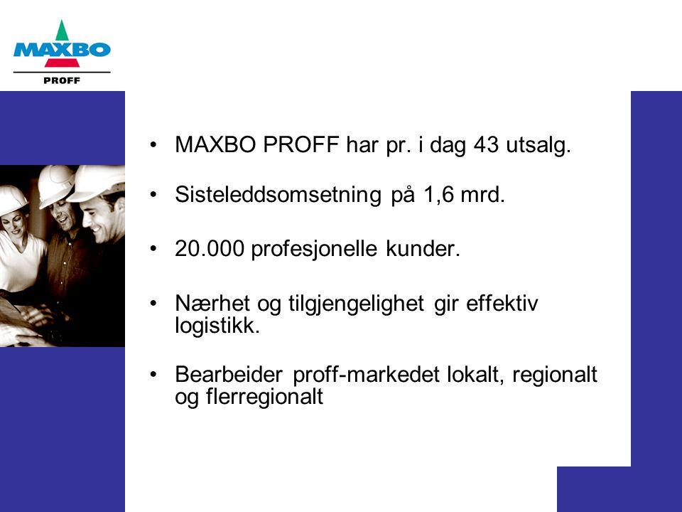 MAXBO PROFF har pr. i dag 43 utsalg. Sisteleddsomsetning på 1,6 mrd. 20.000 profesjonelle kunder. Nærhet og tilgjengelighet gir effektiv logistikk. Be