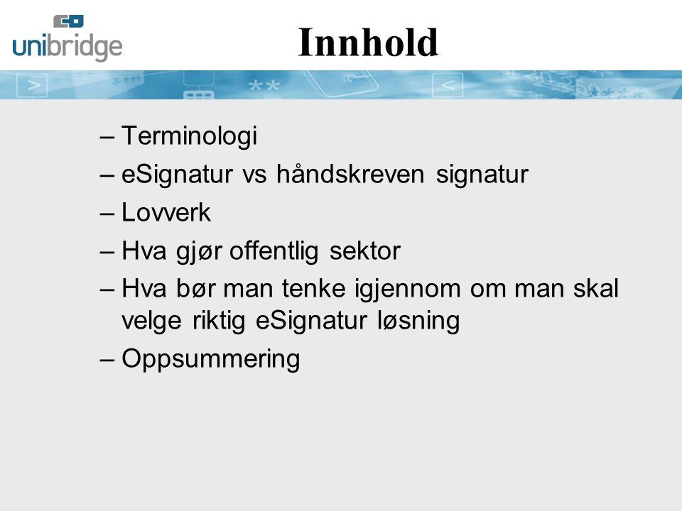 Signaturbegreper  Elektronisk signatur er den brede og generelle betegnelsen på teknikker som kan benyttes til å signere digital informasjon på samme måte som en håndskreven signatur benyttes til å undertegne et papirdokument  Digital Signatur refererer til en bestemt type elektronisk signatur hvor det anvendes asymmetrisk kryptografi og hashfunksjoner.