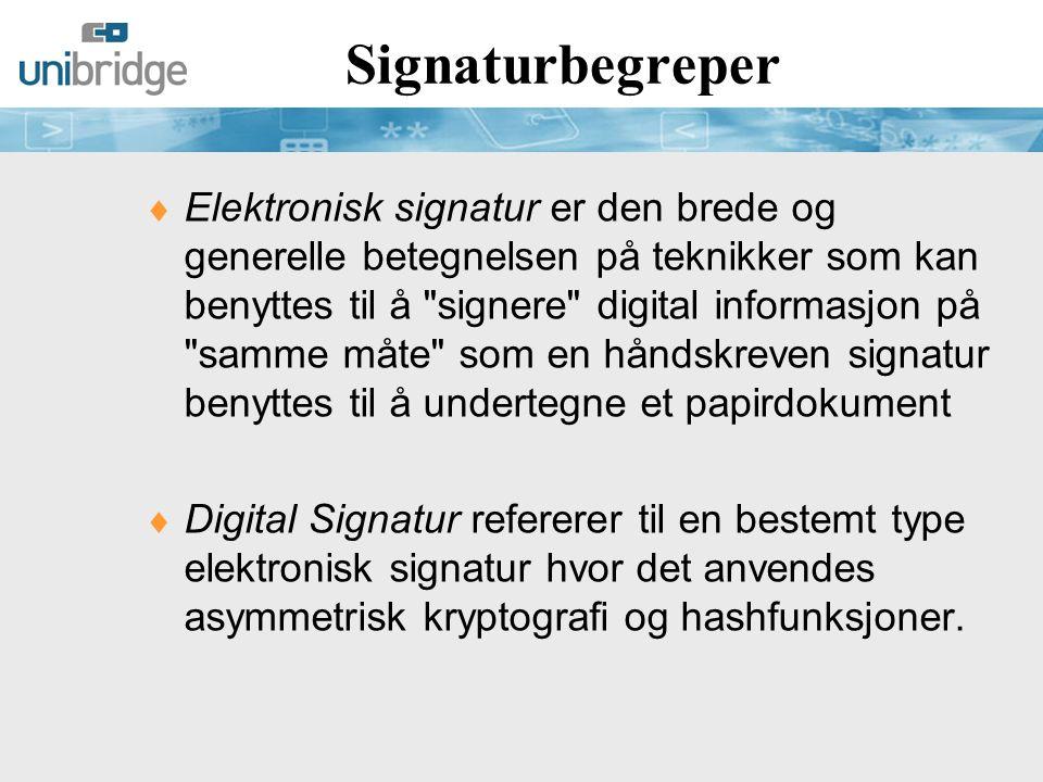 Typer Elektronisk Signatur (1) eSignaturloven (2001): 1.Elektronisk signatur 2.Avansert elektronisk signatur 3.Kvalifisert elektronisk signatur Elektronisk signatur data i elektronisk form som er knyttet til andre elektroniske data og som brukes som autentiseringsmetode.