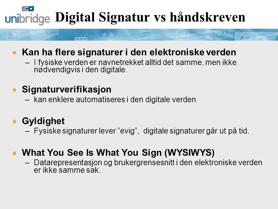 Digital Signatur vs håndskreven  Signering må være basert på bevisst handling –Intuitivt i den fysiske verden.