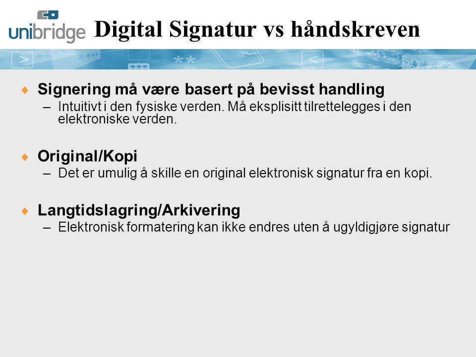 En signaturs ulike funksjoner  Signaturen vil i praksis kunne fylle ulike funksjoner, f.eks –Identifisering –Autentisering –Integritet –Autorisasjon –Bevis  I papirverdenen er det ofte underforstått hva en bestemt signatur innebærer.