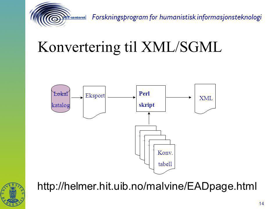 Forskningsprogram for humanistisk informasjonsteknologi 14 Konvertering til XML/SGML http://helmer.hit.uib.no/malvine/EADpage.html XML Perl skript Eks