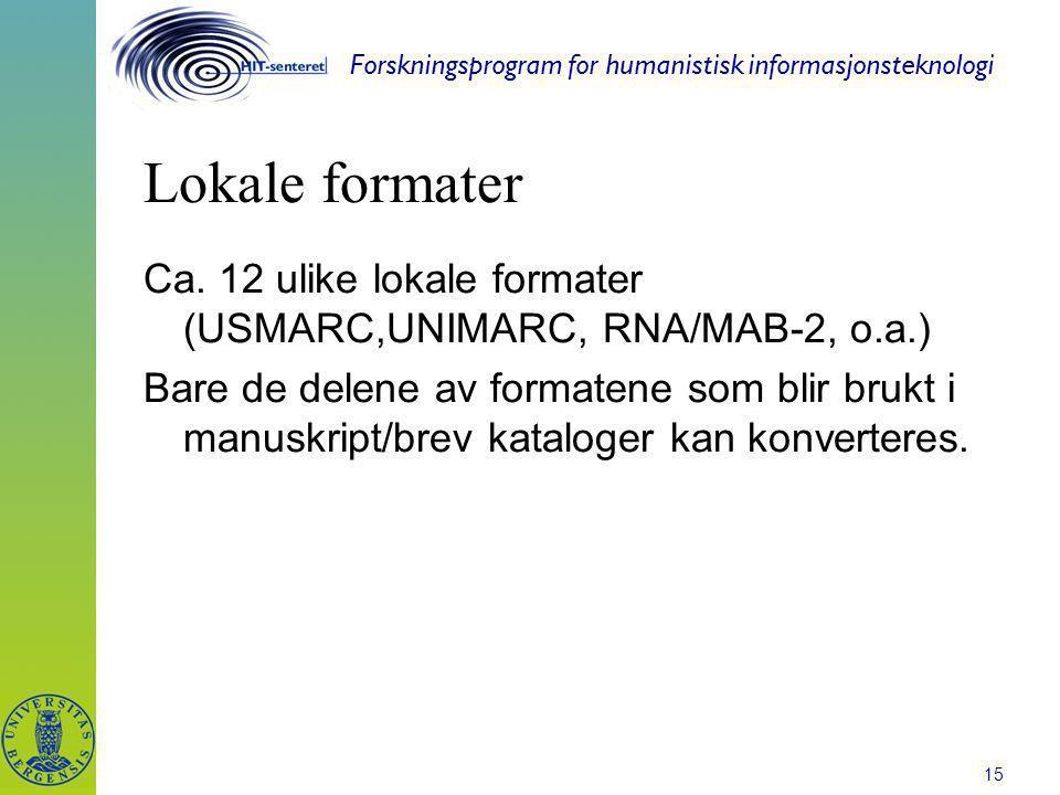 Forskningsprogram for humanistisk informasjonsteknologi 15 Lokale formater Ca. 12 ulike lokale formater (USMARC,UNIMARC, RNA/MAB-2, o.a.) Bare de dele