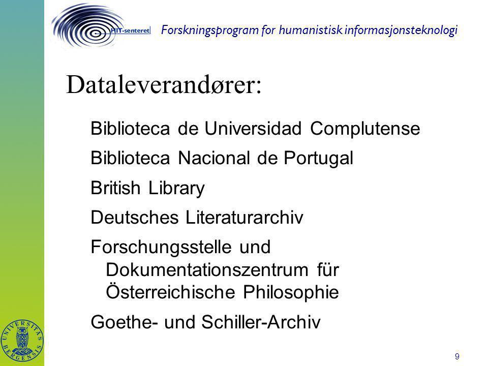 Forskningsprogram for humanistisk informasjonsteknologi 9 Dataleverandører: Biblioteca de Universidad Complutense Biblioteca Nacional de Portugal Brit