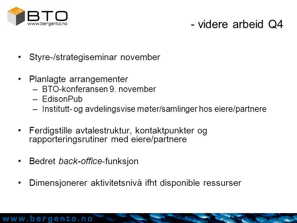 Noen av BTOs prosjekter Før 31.12.2005 –NorDiag –RockSource –Fluens Synthesis –iSentio –NoWiresGroup –NordicNeuroLab –MediMush LSSS, avansert ekkolodd-systemer Hydrogenlagringsmedium Lakselus felle Sequence Optimizer, bakterieidentifikasjon RNAi-screening, diagnoseverktøy mv Bioprospektering for kreftmarkører MR perfusjon (lisensavtale) (corneal blindness treatment) ERAC Vaksineutvikling (TB) TNT Kontrastvæske Pattern Solution, mønstergjenkjenning basert på informatikk/algoritmer (lisensavt) eLæring, web-/interaktive læreverktøy TendoTech, overvåking/sikring av trådløs kommunikason Augmented Reality ('neste generasjon' VR)