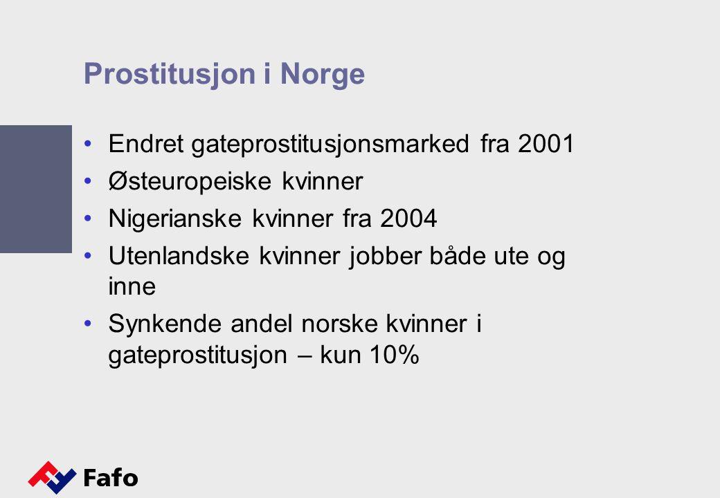 Prostitusjon i Norge Endret gateprostitusjonsmarked fra 2001 Østeuropeiske kvinner Nigerianske kvinner fra 2004 Utenlandske kvinner jobber både ute og