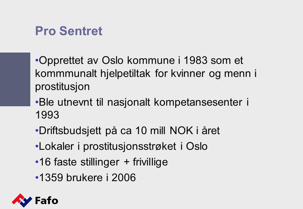 Pro Sentret Opprettet av Oslo kommune i 1983 som et kommmunalt hjelpetiltak for kvinner og menn i prostitusjon Ble utnevnt til nasjonalt kompetansesen